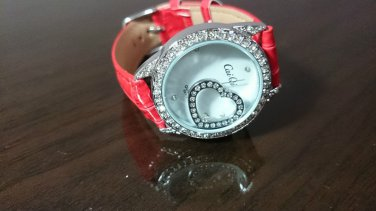 Heart Bling Diamond Cute Red Leather Strap Quartz Wrist Women Chic Fashion Watch