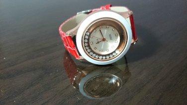 Moving Bling Diamond Vintage Leather Strap Quartz Wrist Women Chic Fashion Watch