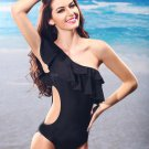 Hot-sell One-piece Cutout Flounced Bikini One Shoulder Slim Padded Swimsuit -Size XL