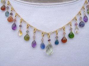 Green Amethyst Multi Gem Necklace