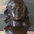 Lovely Female Child Portrait Bust Bronze Sculpture