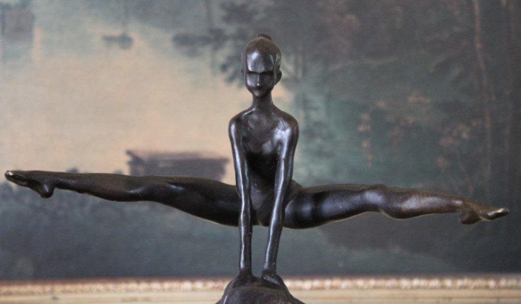 Abstract Girl Gymnastics Acrobat Bronze Sculpture