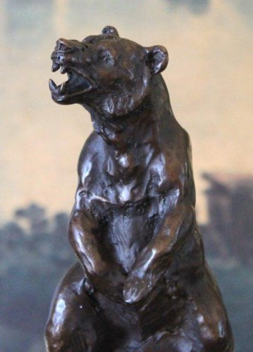 Wildlife Roaring Grizzly Bear Bronze Sculpture