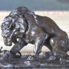 Barye Inspired Lion & Serpent Bronze Sculpture