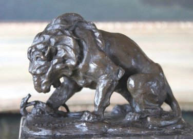 Barye Inspired Lion & Serpent Bronze Sculpture