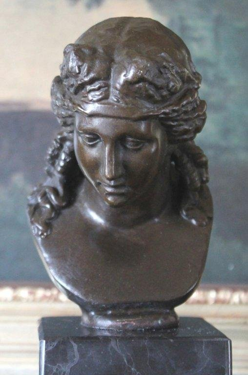 Roman Maiden Bust Bronze Sculpture