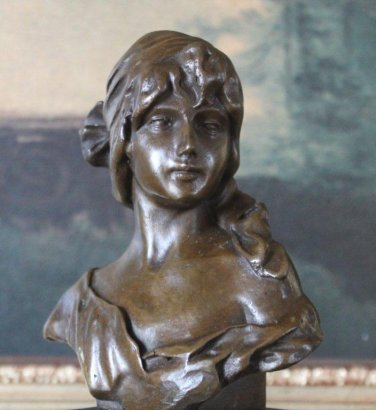 Young Woman Bust Bronze Sculpture