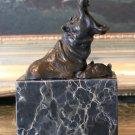 Wildlife Pair of Hippos Bronze Sculpture