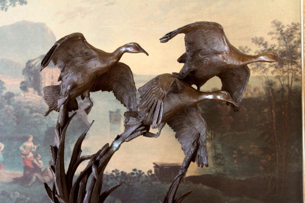 Hunting Wildlife A Flock of Flying Ducks Bronze Sculpture