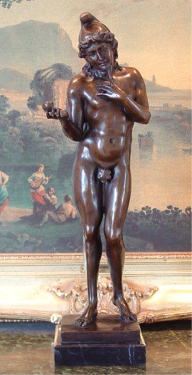 Biblical Adam in the Garden of Eden Nude Bronze Sculpture