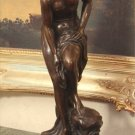 Sensual Semi Nude Woman Bronze Sculpture
