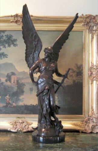 MASSIVE Winged Mythological Goddess Bronze Sculpture