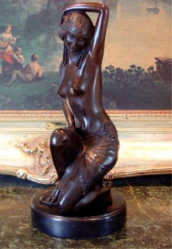 Erotic Art Deco Semi Nude Showgirl Dancer Bronze Sculpture