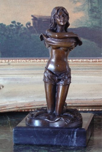Kneeling Young Woman Undressing Bronze Sculpture