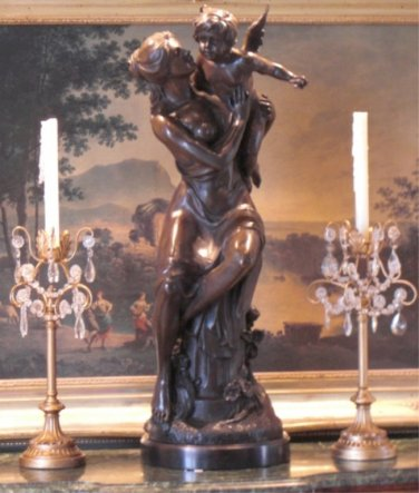 Roman Goddess Ceres and Cherubs Bronze Sculpture