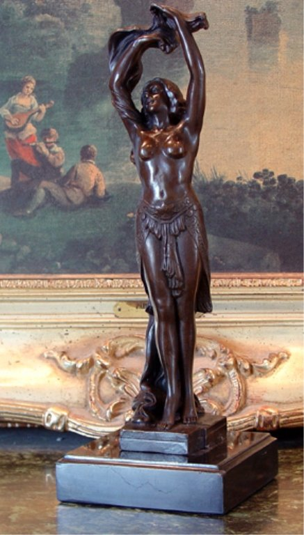 Sensual Semi-Nude Woman Bronze Sculpture