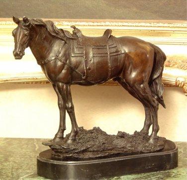 Equestrian Saddled Horse Bronze Sculpture