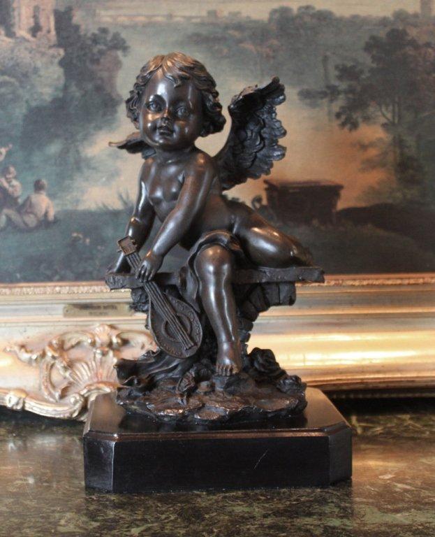 Sitting Cherub Angel Bronze Sculpture
