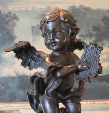 Cherub Angel Playing the Harp Bronze Sculpture