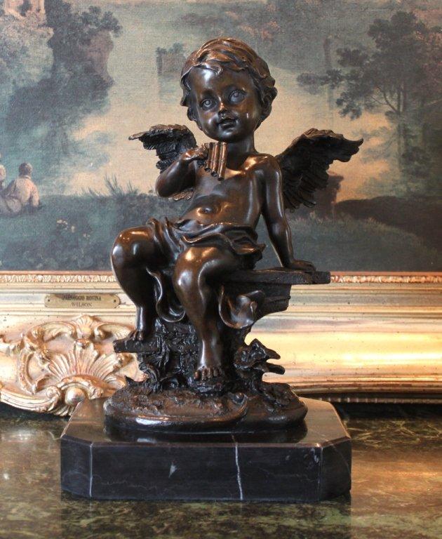 Cherub Angel Playing the Flute Bronze Sculpture