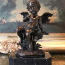 Cherub Angel Playing the Flute Bronze Sculpture