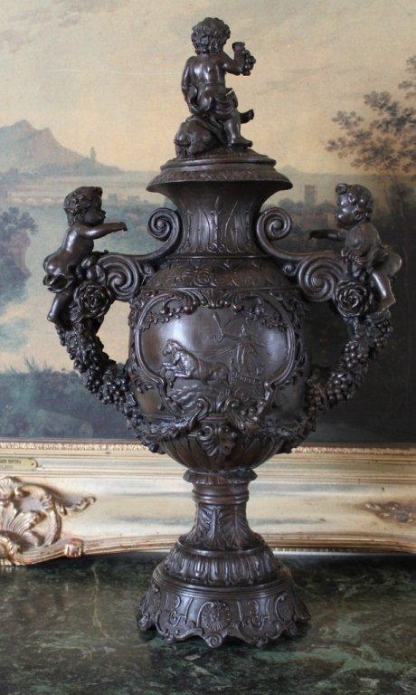 Bronze Cherub Angel Handled Urn