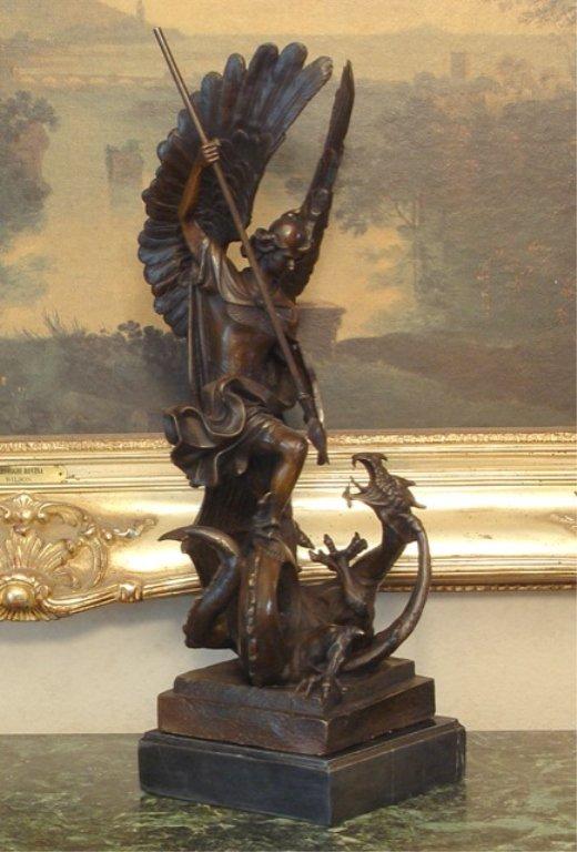 Greek God Apollo Dragon Slayer Bronze Sculpture
