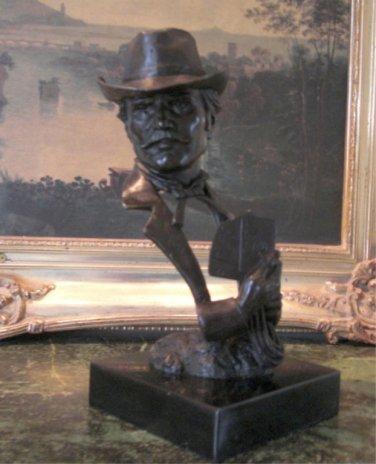 Wild West Poker Player Gambler Bronze Bust Sculpture