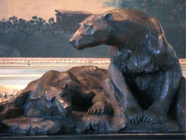 Large Arctic Pair of Polar Bears Bronze Sculpture
