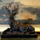 HUGE 12 Pointer Wildlife Resting Elk Bronze Sculpture
