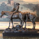 Massive Country Cowgirl on Horseback Bronze Sculpture
