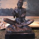 Seated Native American Indian Bronze Sculpture