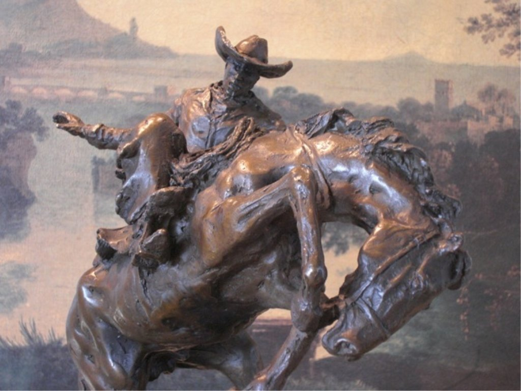 Western Rodeo Cowboy Rider Bronze Sculpture