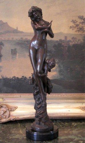 Nude Nymph & Cherub Angel Bronze Sculpture