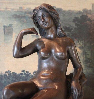 Elegant Nude Woman and Dog Bronze Sculpture