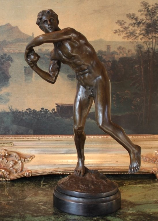 Nude Male Athlete Bronze Sculpture