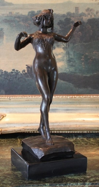 Art Deco Semi-Nude Dancer Bronze Sculpture