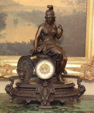 Mythological Goddess Bronze Mantel Clock