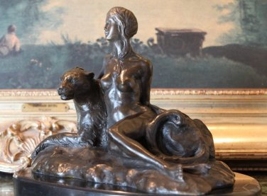 Sensual Nude Woman and Tiger Bronze Sculpture