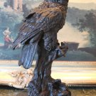 Owl Bird of Prey on a Branch Bronze Sculpture