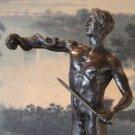 Mude Male Warrior with Spear & Serpent Bronze Sculpture