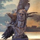 HUGE American Indian & Eagle Bust Bronze Sculpture