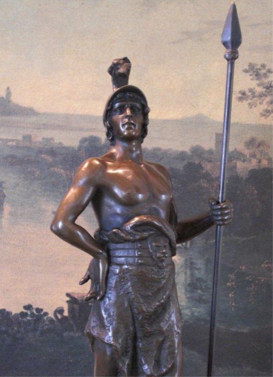 Roman Warrior with Spear Bronze Sculpture