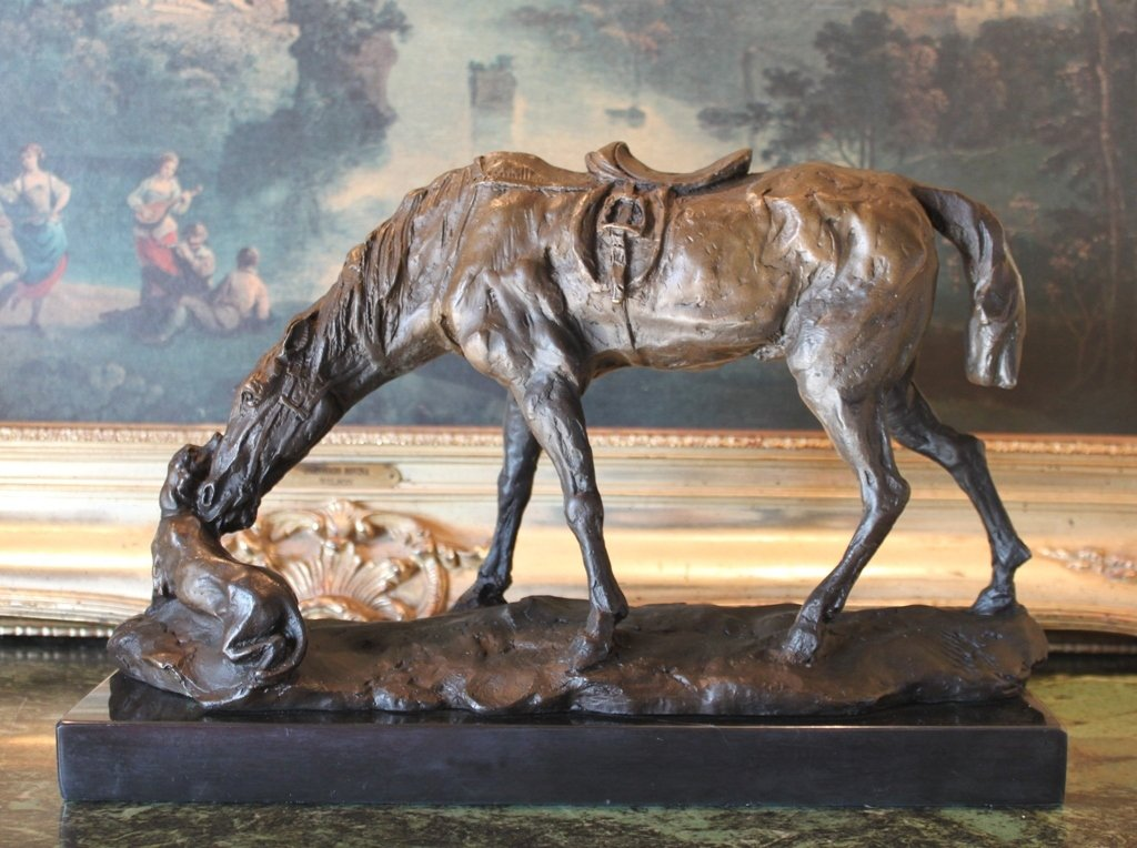 Large Country Equestrian Horse and Dog Bronze Sculpture
