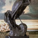 Great Heron Wet Lands Wading Bird Bronze Sculpture