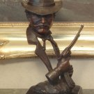 Wild West Western Cowboy Sheriff Bust Bronze Sculpture