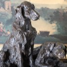 Huge Pair of Retriever Dogs Bronze Sculpture