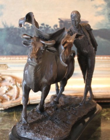 Torero Matador Bull Fighter Bronze Sculpture