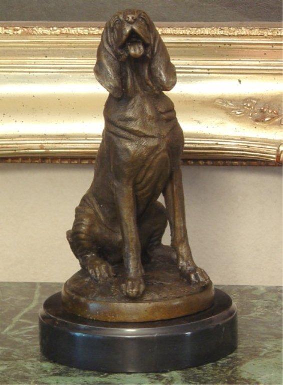 Sitting Hunting Hound Dog Bronze Sculpture