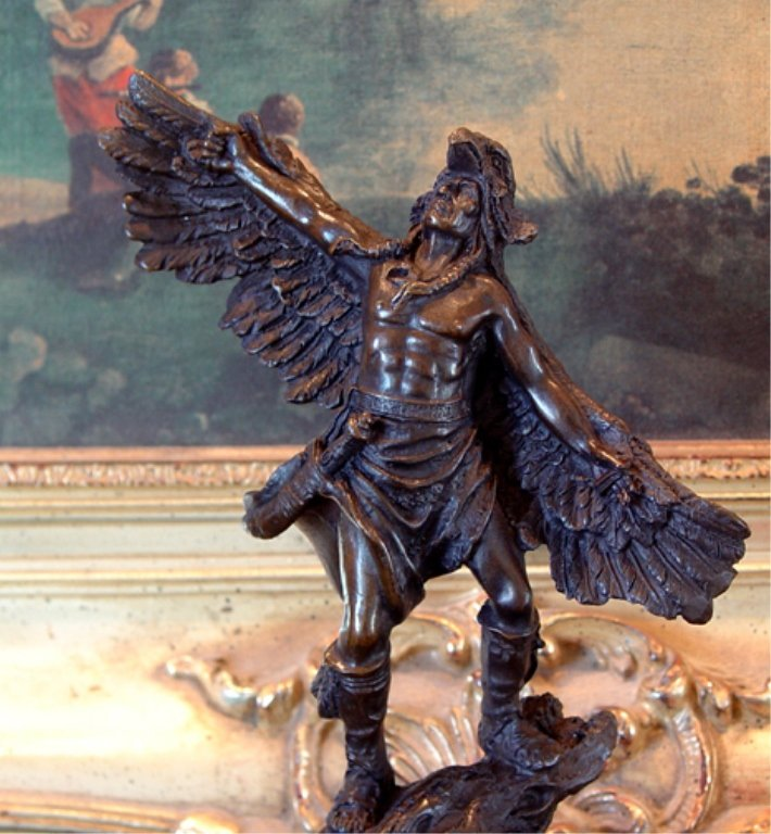 Native American Indian Winged Warrior Bronze Sculpture